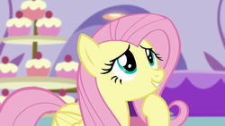 Size: 1280x720 | Tagged: canterlot boutique, cupcake, cute, female, fluttershy, food, mare, pegasus, pony, safe, screencap, shyabetes, smiling, solo