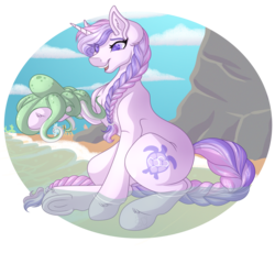 Size: 3408x3138 | Tagged: safe, artist:amazing-artsong, oc, oc:serenity, octopus, pony, unicorn, female, high res, mare, solo, underhoof, water