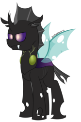 Size: 3125x4688 | Tagged: artist:besttubahorse, changeling, changeling oc, male, oc, oc:epoch'zi, purple changeling, safe, simple background, text, transparent background, transparent wings, unobtrusive watermark, vector, wings