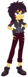 Size: 2769x7616 | Tagged: safe, artist:sketchmcreations, sunset shimmer, costume conundrum, costume conundrum: sunset shimmer, equestria girls, equestria girls series, spoiler:choose your own ending (season 2), spoiler:eqg series (season 2), clothes, fangs, female, gloves, hand on hip, jacket, ripped pants, simple background, transparent background, vampire shimmer, vector, wig