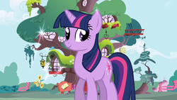 Size: 1280x720 | Tagged: balcony, beehive, cloud, door, fence, flower, golden oaks library, home, lantern, library, opening, ponyville, safe, screencap, smiling, solo, sparkles, tree, treehouse, twilight sparkle, unicorn, unicorn twilight, window