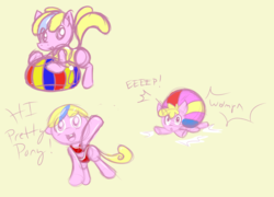 Size: 1050x756 | Tagged: safe, artist:retl, oc, oc only, oc:puppysmiles, pony, beach ball, bikini, blonde mane, clothes, female, filly, one-piece swimsuit, pink eyes, red swimsuit, swimsuit, two toned mane, yellow swimsuit