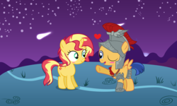 Size: 6400x3840 | Tagged: safe, artist:3d4d, flash sentry, sunset shimmer, pony, blushing, clothes, colt, cosplay, costume, cute, female, filly, flashimmer, male, shipping, straight, younger