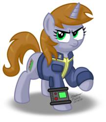Size: 2032x2339 | Tagged: artist:aleximusprime, clothes, fallout equestria, fanfic, fanfic art, female, hooves, horn, mare, oc, oc:littlepip, oc only, pipbuck, pony, safe, simple background, solo, transparent background, unamused, unicorn, vault suit