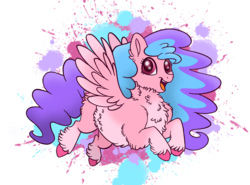 Size: 2216x1641 | Tagged: safe, artist:bellbell123, oc, oc only, oc:bella pinksavage, pegasus, pony, abstract background, cute, female, fluffy, flying, mare, ocbetes, solo