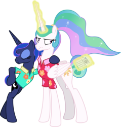 Size: 3000x3137 | Tagged: artist:sollace, between dark and dawn, bipedal, duo, leaning, letter, magic, princess celestia, princess luna, safe, simple background, spoiler:s09e13, .svg available, transparent background, vector