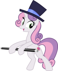 Size: 3000x3688 | Tagged: artist:sollace, bipedal, cane, cute, cutie mark, dancing, female, growing up is hard to do, hat, mare, older, older sweetie belle, pony, safe, simple background, smiling, solo, spoiler:s09e22, .svg available, sweetie belle, the cmc's cutie marks, transparent background, unicorn, vector