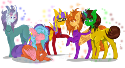 Size: 3924x2141 | Tagged: safe, artist:grimmjawls, oc, oc:aspen, oc:bella pinksavage, oc:fluffybriefs, oc:ryan, oc:sunrise glisten, alicorn, pony, alicorn oc, bodysuit, brothers and sisters, catsuit, eyes closed, family, group, jewelry, latex, latex suit, magic, necklace, peace, peace suit, peace symbol, pegasus oc, rubber suit, smiling, the peace family, transgender, unicorn oc