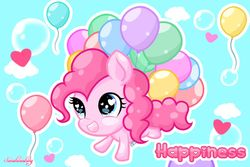 Size: 1024x683   Tagged: safe, artist:sunshineshiny, pinkie pie, pony, balloon, bubble, chibi, cloud, cute, diapinkes, female, floating, heart, heart eyes, open mouth, sky, solo, then watch her balloons lift her up to the sky, wingding eyes