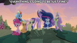 Size: 1920x1080 | Tagged: safe, edit, edited screencap, screencap, applejack, fluttershy, pinkie pie, rainbow dash, rarity, spike, twilight sparkle, alicorn, dragon, earth pony, pegasus, pony, unicorn, magical mystery cure, the last problem, bittersweet, callback, caption, end of ponies, farewell, gigachad spike, goodbye, heartwarming, life in equestria, lyrics in the description, mane seven, mane six, older, older applejack, older fluttershy, older mane seven, older mane six, older pinkie pie, older rainbow dash, older rarity, older spike, older twilight, ponyville, princess twilight 2.0, rainbow, song reference, sunset, the end, the magic of friendship grows, twilight sparkle (alicorn), winged spike, wings, youtube link