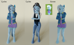 Size: 6240x3840 | Tagged: 3d, anthro, artist:stellarator, blender, blender cycles, blender eevee, clothes, contrapposto, cycles render, equestria girls anthropized, equestria girls outfit, female, fishnet pantyhose, fishnets, hair ornament, hat, hoodie, looking at you, magician outfit, mare, not sfm, one eye closed, pantyhose, safe, shirt, skirt, smiling, solo, tights, top hat, trixie, unguligrade anthro, unicorn, vest, wink