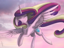 Size: 4562x3456 | Tagged: alicorn, artist:0pencil0and0rood0, cloud, cute, cutedance, eyes closed, female, floppy ears, flying, high res, mare, pony, princess cadance, safe, sky, solo, spread wings, wings