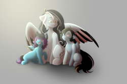 Size: 2560x1700 | Tagged: safe, artist:hicoojoo, oc, oc only, oc:despy, oc:tyler, pegasus, pony, colored wings, colt, female, filly, male, mare, multicolored wings, wings