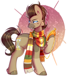 Size: 1500x1690 | Tagged: safe, artist:soundwavepie, doctor whooves, time turner, earth pony, pony, clothes, digital art, fourth doctor's scarf, male, scarf, solo, stallion
