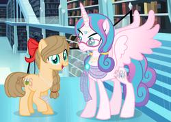 Size: 1006x720 | Tagged: safe, artist:superrosey16, princess flurry heart, oc, oc:sugar apple, earth pony, pony, base used, female, glasses, mare, offspring, older, parent:applejack, parent:caramel, parents:carajack, watermark
