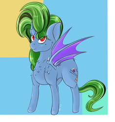 Size: 1760x1866 | Tagged: safe, artist:epicenehs, oc, oc:solar sulfure, bat pony, mothpony, original species, antennae, bat wings, fangs, female, heart eyes, highlights, mare, smiling, solo, standing, wingding eyes, wings
