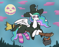 Size: 1096x872 | Tagged: alicorn, artist:jargon scott, broom, candy, cauldron, clothes, costume, female, flying, flying broomstick, food, full moon, halloween, halloween costume, holiday, mare, moon, pony, princess celestia, safe, socks, solo, striped socks, witch