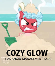 Size: 700x840 | Tagged: safe, edit, edited screencap, screencap, cozy glow, pegasus, pony, spoiler:s09, anger management issues, angry, captain obvious, engrish, female, filly, grammar error, red face, the most evil q&a ever