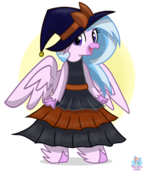 Size: 936x1115 | Tagged: artist:rainbow eevee, bipedal, classical hippogriff, clothes, cute, diastreamies, dress, female, halloween, hat, hippogriff, holiday, looking at you, oktoberfest, open mouth, safe, silverstream, simple background, solo, witch hat