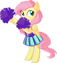 Size: 6056x6769 | Tagged: safe, artist:cyanlightning, fluttershy, pegasus, pony, .svg available, absurd resolution, bipedal, blushing, cheerleader, cheerleader fluttershy, clothes, cute, daaaaaaaaaaaw, ear fluff, female, folded wings, mare, miniskirt, pleated skirt, pom pom, shyabetes, simple background, skirt, smiling, solo, transparent background, vector, wings