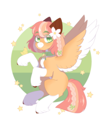 Size: 1280x1515 | Tagged: artist:koishay, bell, bird, braid, chicken, choker, eyebrows visible through hair, female, flower, flower in hair, green eyes, oc, oc:baby cakes, pegasus oc, safe, socks (coat marking), stars