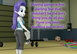 Size: 1514x1073 | Tagged: 3d, artist:pika-robo, ass, boobs and butt pose, butt, equestria girls, fitness, gym, looking back, purple text, rarity, rearity, safe, source filmmaker, talking to viewer, text, towel, wii fit trainer