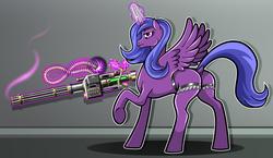 Size: 2800x1626   Tagged: safe, artist:wangkingfun, oc, oc only, oc:lacunae, alicorn, pony, unicorn, fallout equestria, fallout equestria: project horizons, alicorn oc, artificial alicorn, butt, dock, fanfic, fanfic art, female, glowing horn, gun, hooves, horn, levitation, magic, mare, minigun, plot, purple alicorn (fo:e), raised hoof, scope, solo, spread wings, telekinesis, weapon, wings
