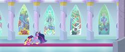 Size: 2602x1080 | Tagged: safe, screencap, cozy glow, gallus, lord tirek, luster dawn, ocellus, princess flurry heart, queen chrysalis, sandbar, silverstream, smolder, twilight sparkle, yona, alicorn, the last problem, panorama, princess twilight 2.0, student six, twilight sparkle (alicorn)