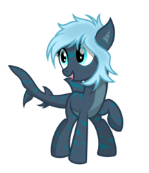 Size: 2500x2900 | Tagged: artist:pizzamovies, female, looking away, oc, oc:mariana, oc only, original species, raised hoof, safe, shark pony, simple background, solo, transparent background