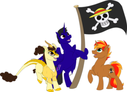 Size: 2234x1613 | Tagged: safe, artist:mythpony, oc, oc only, oc:edwin, alicorn, kirin, pony, unicorn, anime, female, glasses, jolly roger, male, one piece, simple background, stallion, transparent background