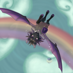 Size: 5000x5000 | Tagged: safe, artist:pearlescent, oc, oc only, oc:zenarisblackmour, bat pony, pony, bat pony oc, collar, dyed mane, flying, heart, makeup, male, rainbow, sky, solo, sparkles, stallion