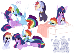 Size: 2346x1728 | Tagged: alicorn, alicorn oc, alternate design, artist:sketch-fluffy, baby, baby pony, bedtime story, book, chest fluff, chibi, cloak, clothes, colt, female, floppy ears, lesbian, magical lesbian spawn, male, mare, mother and son, oc, oc:nao, offspring, parent:rainbow dash, parents:twidash, parent:twilight sparkle, pegasus, pony, pregnant, rainbow dash, reading, safe, shipping, stallion, twidash, twilight sparkle, twilight sparkle (alicorn)