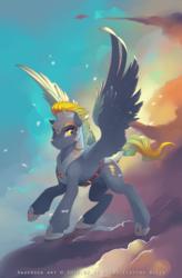 Size: 2489x3800 | Tagged: safe, artist:antiander, oc, oc only, oc:electro blitz, pegasus, pony, armor, cloud, cloudy, male, nudity, sheath, solo, stallion