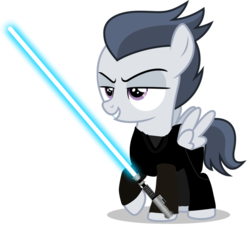 Size: 1123x1018 | Tagged: artist:chrzanek97, artist:jawsandgumballfan24, colt, edit, foal, jedi, jedi knight, lightsaber, male, pegasus, pony, rumble, safe, simple background, solo, star wars, transparent background, weapon