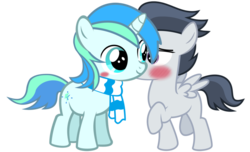 Size: 1024x624 | Tagged: source needed, safe, artist:jawsandgumballfan24, rumble, oc, oc:cyan lightning, pegasus, pony, unicorn, blushing, canon x oc, clothes, colt, cute, cyanrumble, duo, gay, male, ocbetes, rumblebetes, scarf, vector
