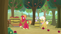 Size: 1280x720 | Tagged: safe, screencap, big macintosh, goldie delicious, cat, going to seed, spoiler:s09e10, apple, apple tree, barrel, fence, food, tree