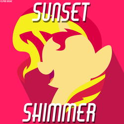 Size: 1800x1800 | Tagged: artist:caliazian, artist:filipino-dashie, bust, female, horn, lineless, mare, minimalist, modern art, open mouth, pony, portrait, red background, safe, simple background, smiling, solo, sunset shimmer, unicorn, watermark