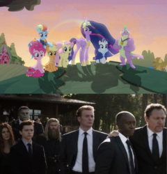 Size: 1280x1336 | Tagged: safe, edit, edited screencap, screencap, applejack, fluttershy, pinkie pie, rainbow dash, rarity, spike, twilight sparkle, alicorn, dragon, earth pony, pegasus, pony, unicorn, the last problem, spoiler:s09e26, aunt may, avengers, avengers: endgame, bruce banner, bucky barnes, carol danvers, drax the destroyer, end of g4, end of ponies, happy hogan, james rhodes, mane seven, mane six, mantis, marvel cinematic universe, may parker, older, older applejack, older fluttershy, older mane 6, older mane 7, older pinkie pie, older rainbow dash, older rarity, older spike, older twilight, peter parker, princess twilight 2.0, professor hulk, series finale, steve rogers, thor, tony starks funeral, twilight sparkle (alicorn), winged spike