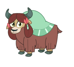 Size: 872x786 | Tagged: artist:theawesomeguy98201, bow, cloven hooves, cute, female, hair bow, horns, looking at you, monkey swings, safe, simple background, solo, white background, yak, yona, yonadorable