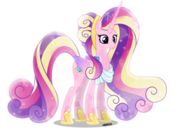 Size: 4000x2932 | Tagged: alicorn, artist:orin331, cute, cutedance, ethereal mane, female, horn, long horn, mare, older, pony, princess cadance, safe, simple background, smiling, solo, starry mane, time skip, transparent background