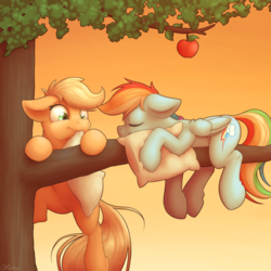 Size: 4000x4000 | Tagged: apple, applejack, artist:ohemo, cute, cutie mark, duo, duo female, earth pony, eyes closed, female, floppy ears, folded wings, food, freckles, hnnng, mare, mouth hold, nap, pegasus, pillow, pony, rainbow dash, safe, smiling, tree, tree branch, wings