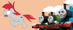 Size: 1726x720 | Tagged: safe, train tracks (character), pony, colt, male, this will end in steam, thomas the tank engine