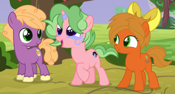 Size: 2760x1480 | Tagged: alternate universe, artist:razorbladetheunicron, base used, bow, brothers, colt, cousins, earth pony, face markings, female, filly, group, hair bow, lateverse, male, muffin macintosh, next generation, oc, oc:caramel ambrosia, oc:disco lights, offspring, parent:applejack, parent:big macintosh, parents:sugarmac, parent:sugar belle, pony, safe, siblings, spoiler:s09e26, unicorn, unshorn fetlocks