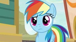 Size: 1366x768 | Tagged: buckball, common ground, rainbow dash, rainbow dash is not amused, safe, screencap, spoiler:s09e06, unamused