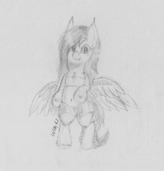 Size: 2425x2527 | Tagged: artist:wapamario63, bipedal, bra, bra on pony, clothes, fluttershy, monochrome, pegasus, pony, safe, solo, traditional art, wings