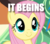 Size: 334x293 | Tagged: caption, cropped, edit, edited screencap, fluttershy, image macro, it begins, safe, screencap, solo, text, trade ya, train