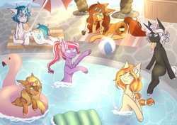 Size: 3480x2448 | Tagged: artist:shadow-nights, commission, deer, deer pony, digital art, drink, earth pony, female, food, gift art, oc, oc:aerye, oc:amethyst gleam, oc:bubble lee, oc:honeypot, oc:olive branch, oc only, oc:sunstone smile, original species, popsicle, prone, relaxing, safe, smiling, swimming pool, unicorn, ych result