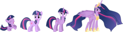 Size: 3000x775   Tagged: safe, artist:crystalmagic6, artist:mamandil, artist:shadowdark3, artist:shelltoon, twilight sparkle, alicorn, pony, unicorn, princess twilight sparkle (episode), the last problem, .svg available, age progression, blank flank, crown, cute, cutie mark, ethereal mane, eyes closed, female, filly, filly twilight sparkle, floppy ears, happy, hoof shoes, hoofy-kicks, jewelry, lidded eyes, long neck, looking at you, looking back, looking up, mare, older, older twilight, open mouth, peytral, princess twilight 2.0, raised eyebrow, rearing, regalia, simple background, smiling, spread wings, starry mane, tiara, transparent background, twiabetes, twilight sparkle (alicorn), unicorn twilight, updated, vector, wings, younger