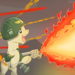 Size: 3000x3000 | Tagged: artist:pizzamovies, bipedal, earth pony, fight, fire, flamer, flamethrower, frown, glare, helmet, hoof hold, imperial guard, male, nose wrinkle, oc, oc only, oc:pizzamovies, open mouth, pony, safe, sky, solo, stallion, warhammer 40k, warhammer (game), weapon
