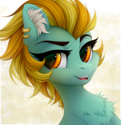 Size: 1630x1690 | Tagged: artist:vird-gi, bust, chest fluff, ear piercing, female, lightning dust, looking at you, mare, open mouth, pegasus, piercing, pony, safe, smiling, solo